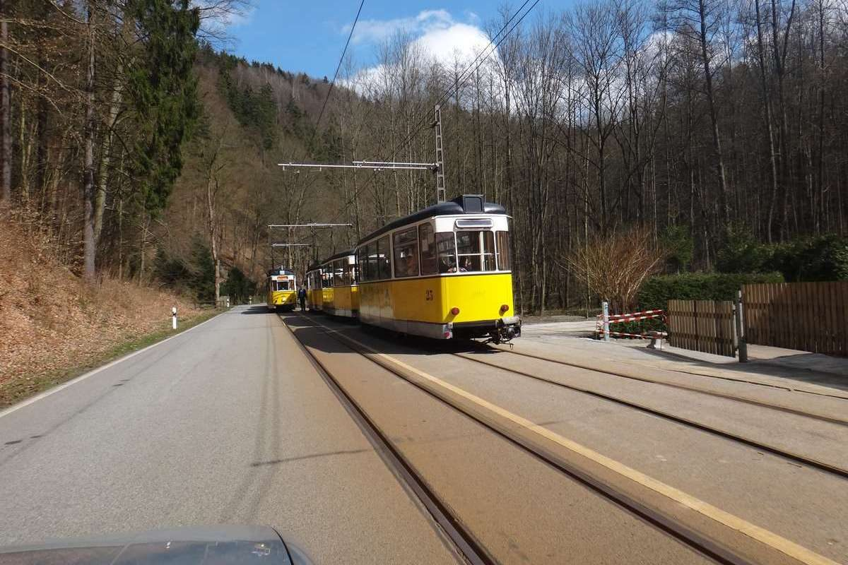 Train in Saxon Switzerland National Park