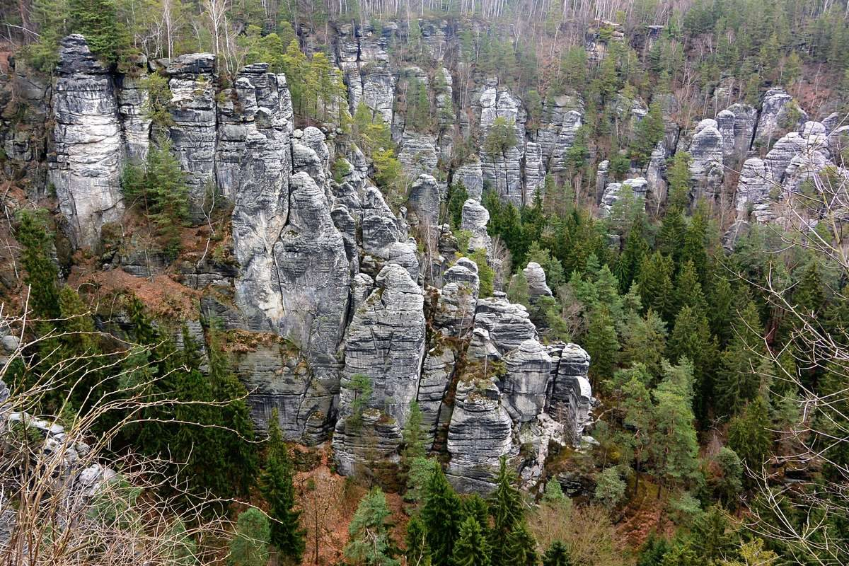 Sandstone rock formations in Saxon Switzerland National Park