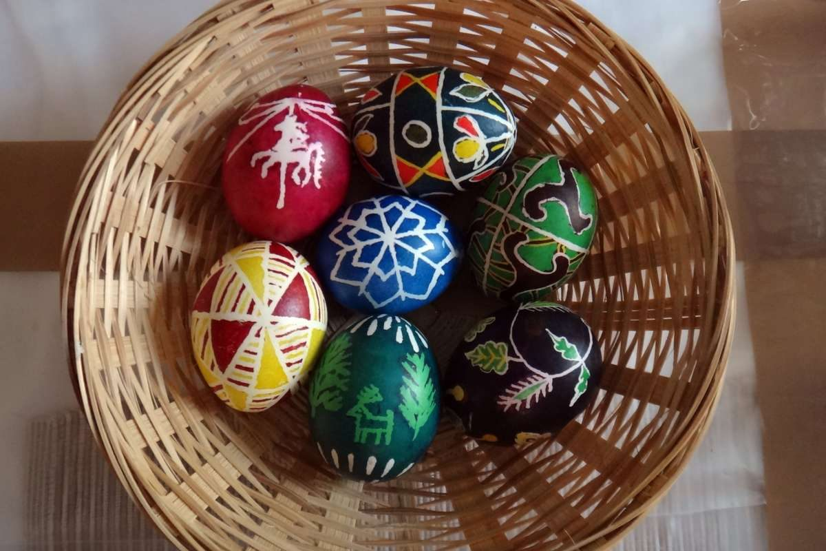 Our bowl of pysanky - traditional Ukrainian Easter eggs