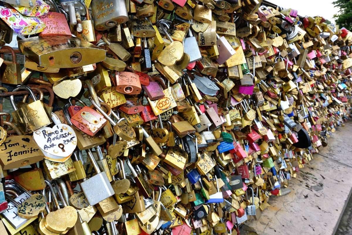 Locks of love on Pont Neuf in Paris