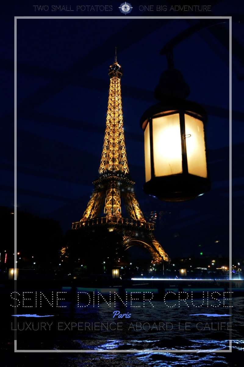 Looking for a romantic splurge while in Paris?  Book a luxury trip on board Le Calife for an unforgettable dinner cruise on the Seine River.  You'll enjoy a gourmet meal while sailing under the sparkling lights of the Eiffel Tower.  Find out what you need to know before you book.  #luxurytravel #dinnercruise #France #TatersTravels