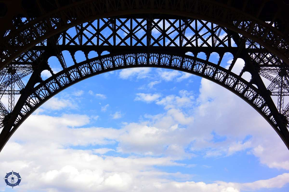 Close of of the metal latticework of the Eiffel Tower