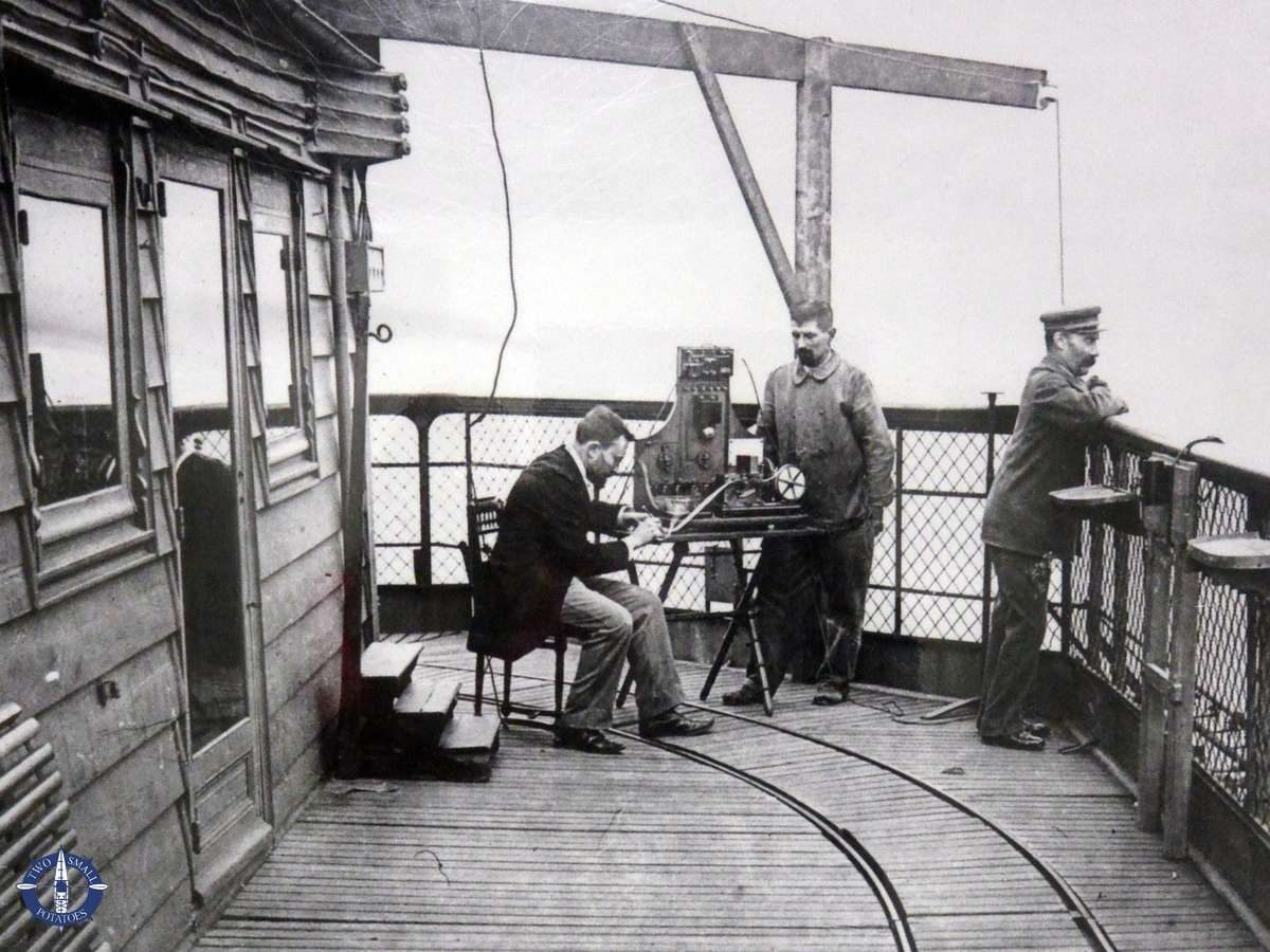 Historical photo of the first telegraph transmitted from the Eiffel Tower