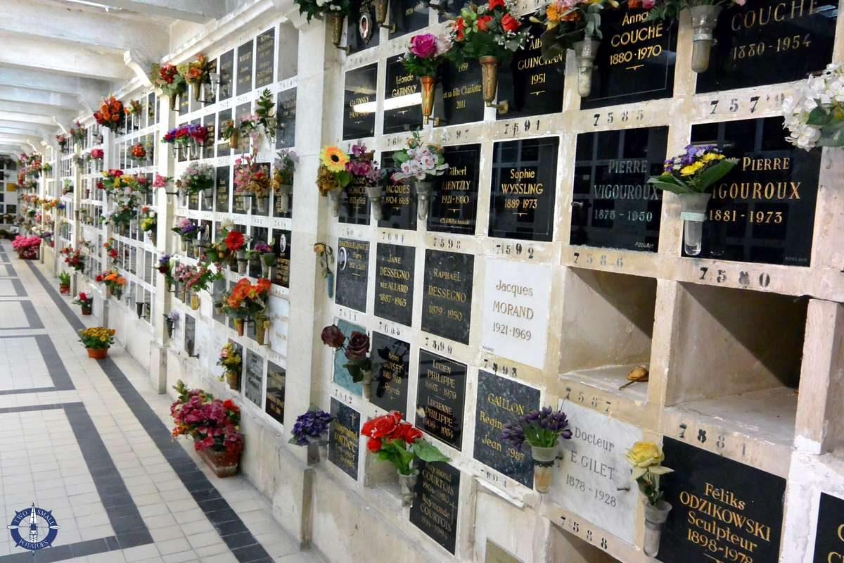 Interred ashes at the columbarium, Cemetery of Pere-Lachaise in Paris