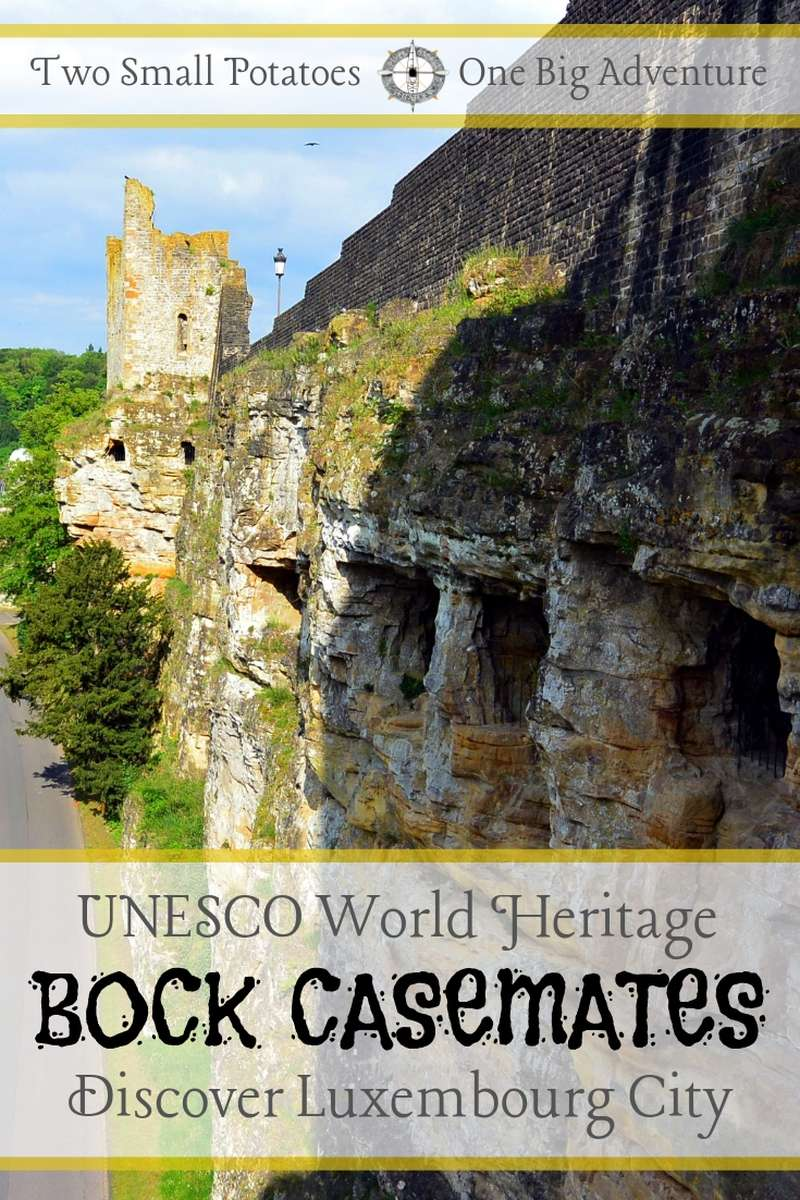 Explore 17 km of underground medieval tunnels in Luxembourg City.  Known as the Bock Casemates, it's a UNESCO World Heritage Site, along with the city's Old Town.  #UNESCO #Luxembourg #TatersTravels