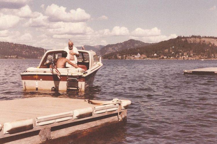 My granpda boating on Coeur d'Alene Lake, Idaho