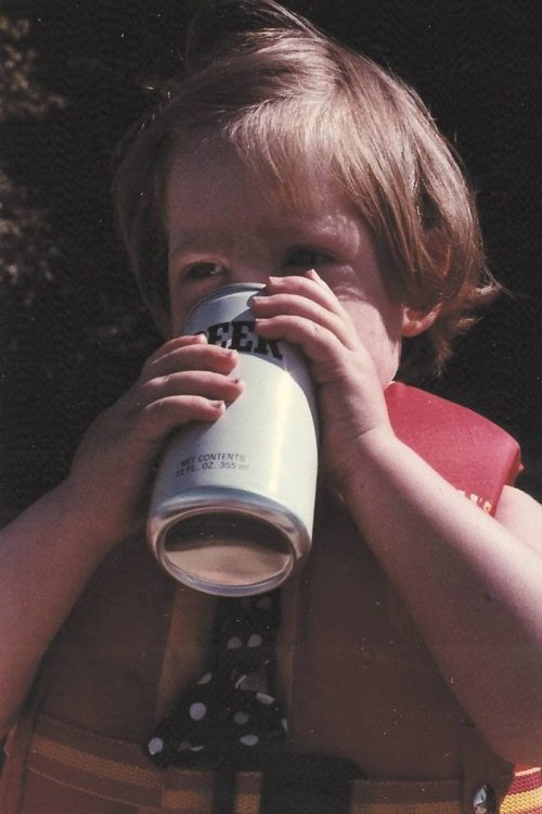 Me drinking beer, age 2