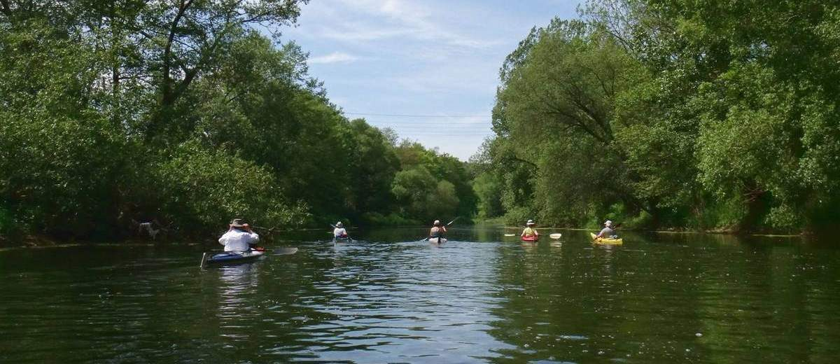 Kayaking trip on the Werra River, Germany