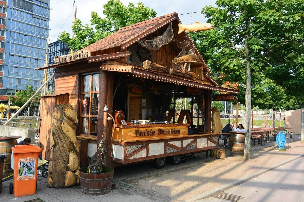 Smoked salmon booth at Kiel Week, Germany