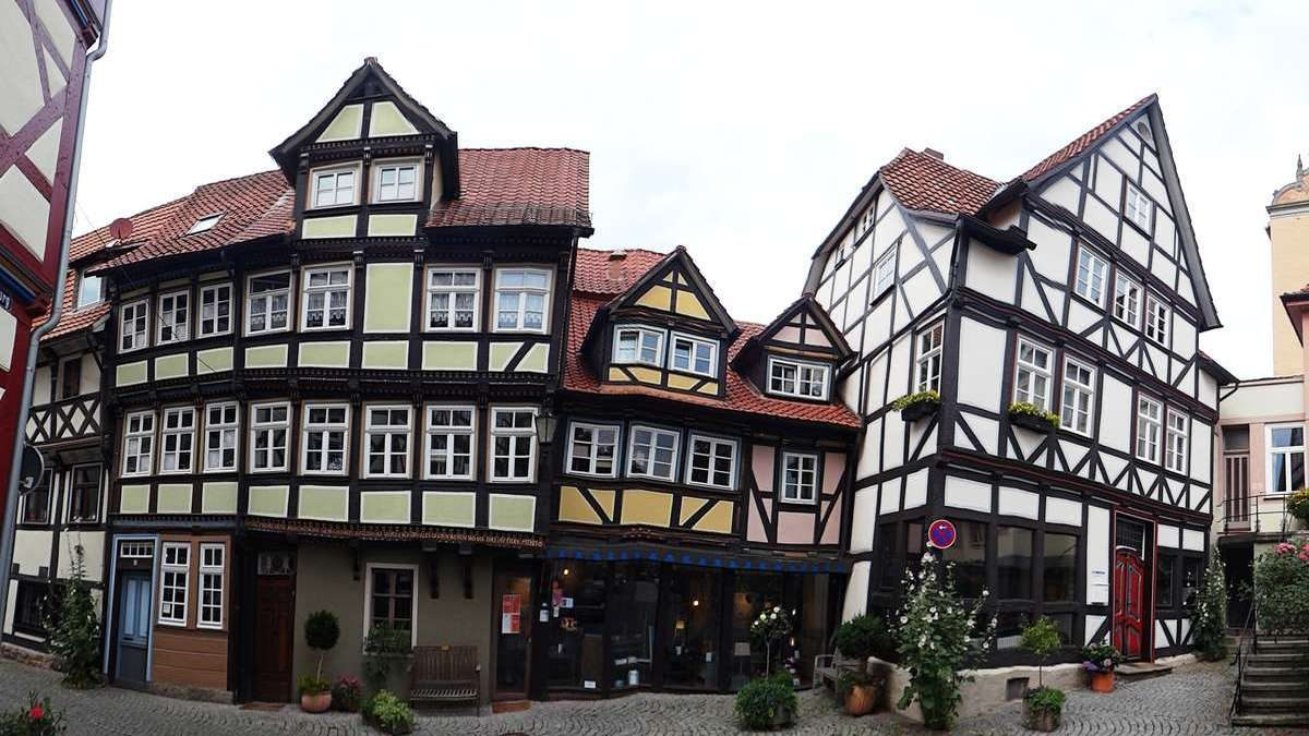 Colorful, crooked half-timbered houses of Hann. Münden