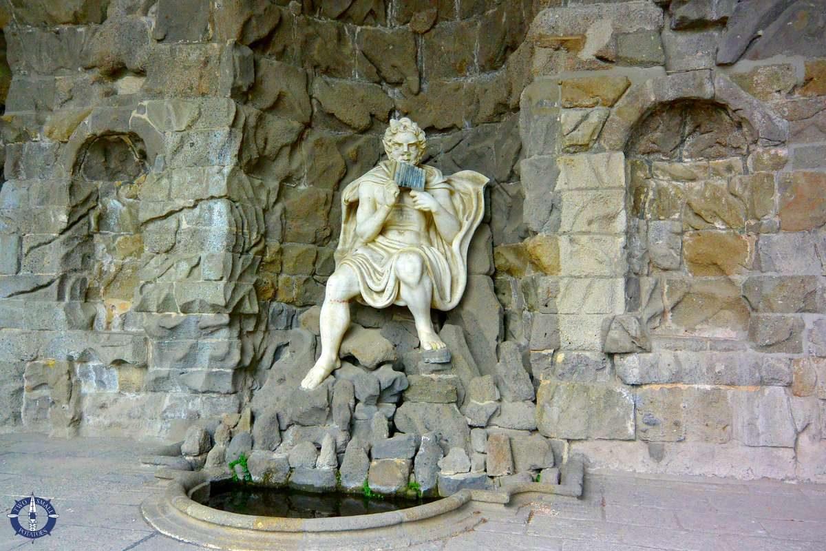 Pan statue beneath Hercules Statue near Löwenburg Castle, Germany