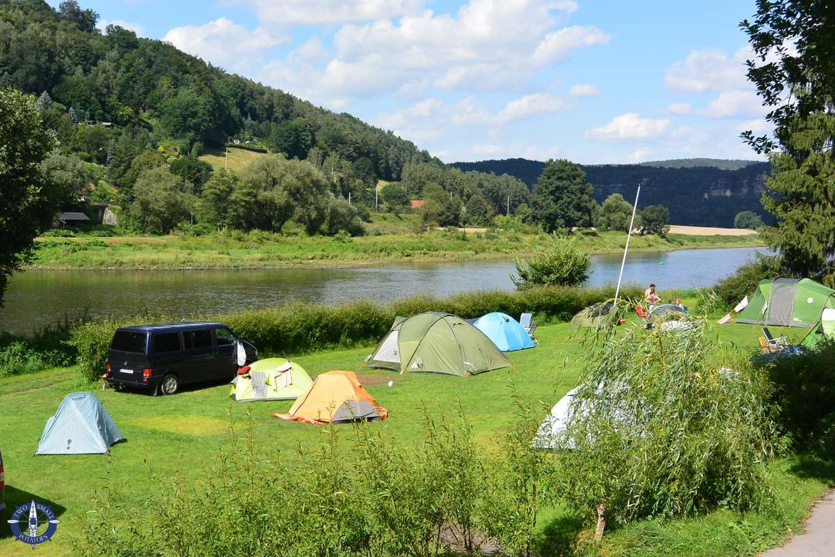 Tents on the Elbe River at Ferdinands Homestay, Germany