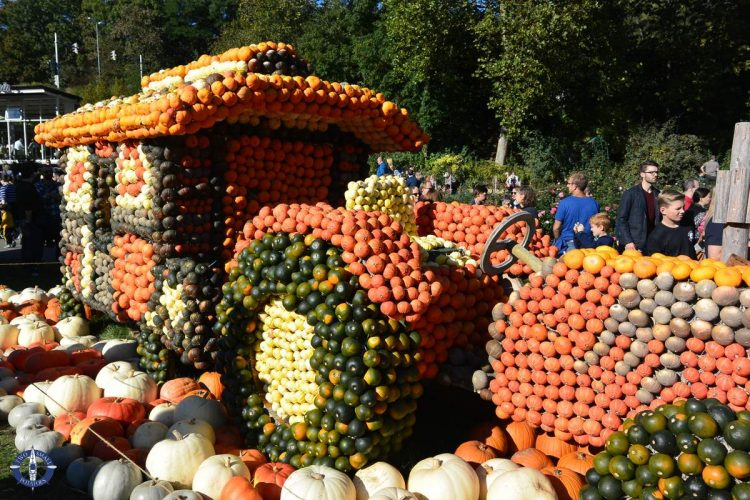 Circus wagon at the world's largest pumpkin festival in Ludwigsburg, Germany