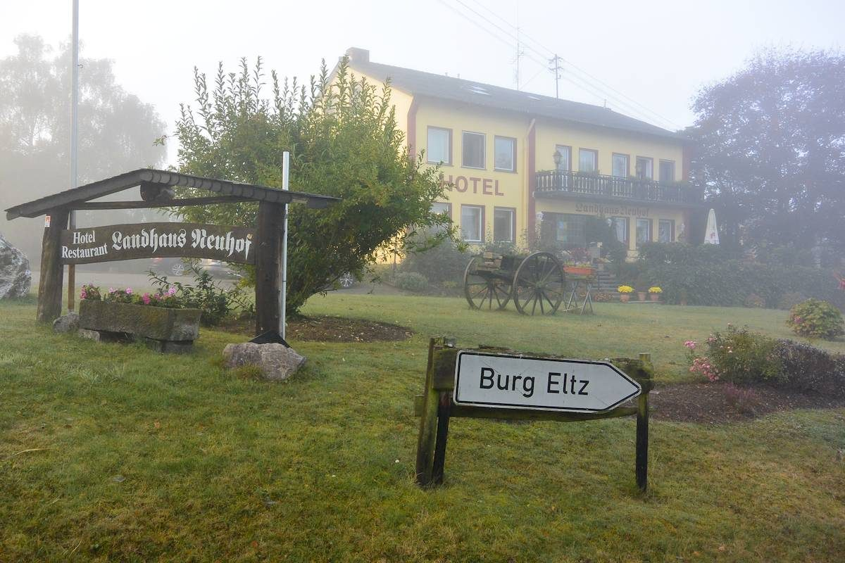 fog surrounds the Hotel Landhaus Neuhof in Wierschem Germany