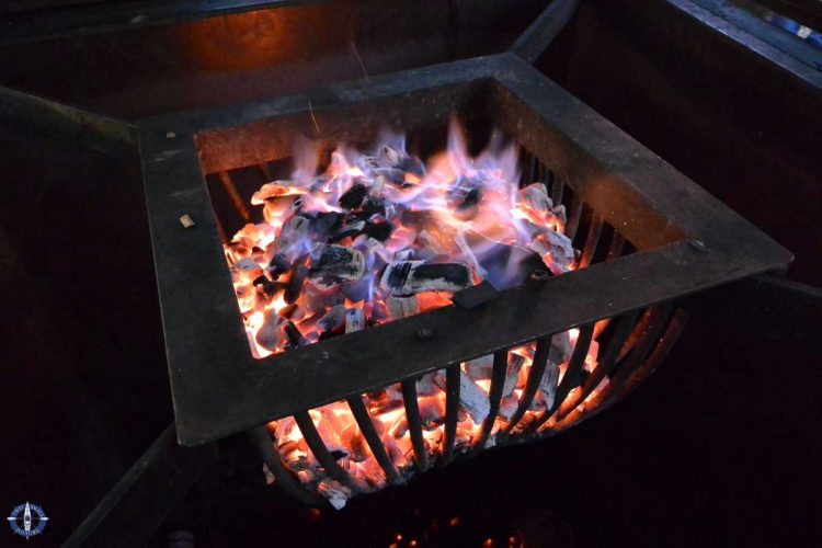 brazier with hot coals at the Goettingen Christmas Market