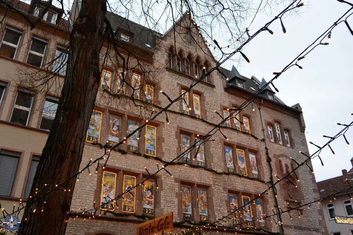 Advent calendar on a building at the Goettingen Christmas Market