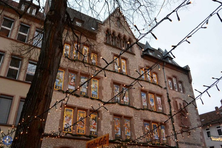 Advent calendar on a building at the Goettingen Christmas Market
