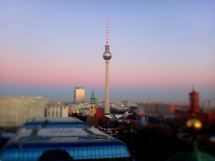 berlin's tv tower is visible from the berliner dom