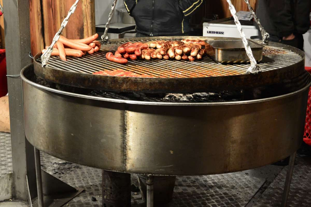 Meat grilling at the Gendarmenmarkt Christmas Market in Berlin