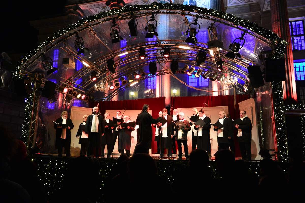 Choir at the Gendarmenmarkt Christmas Market in Berlin, Germany