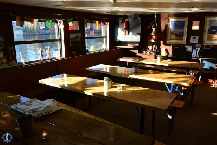 Breakfast buffet on board the Eastern Comfort hostel boat in Berlin