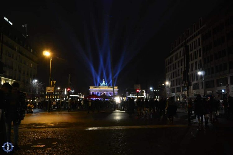 New Year's celebration at Brandenburg Gate, Berlin, Germany