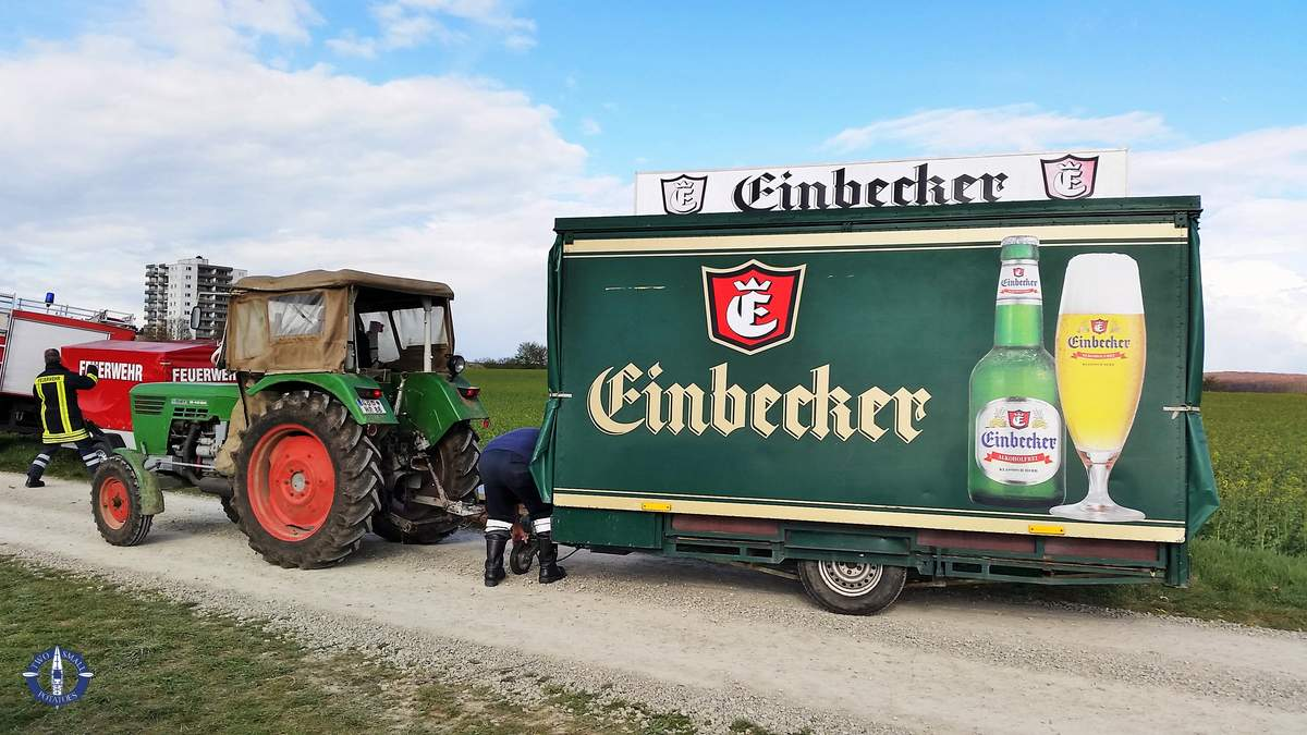 A beer truck in a field for Easter in Germany