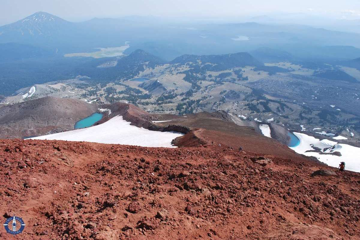 Descending South Sister summit in the Oregon Cascades, bucket list