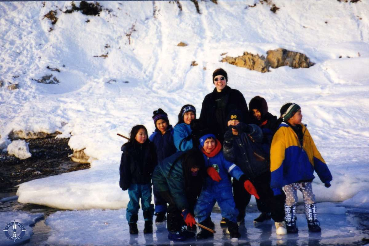 Ice fishing with local children in Alaska, bucket list item
