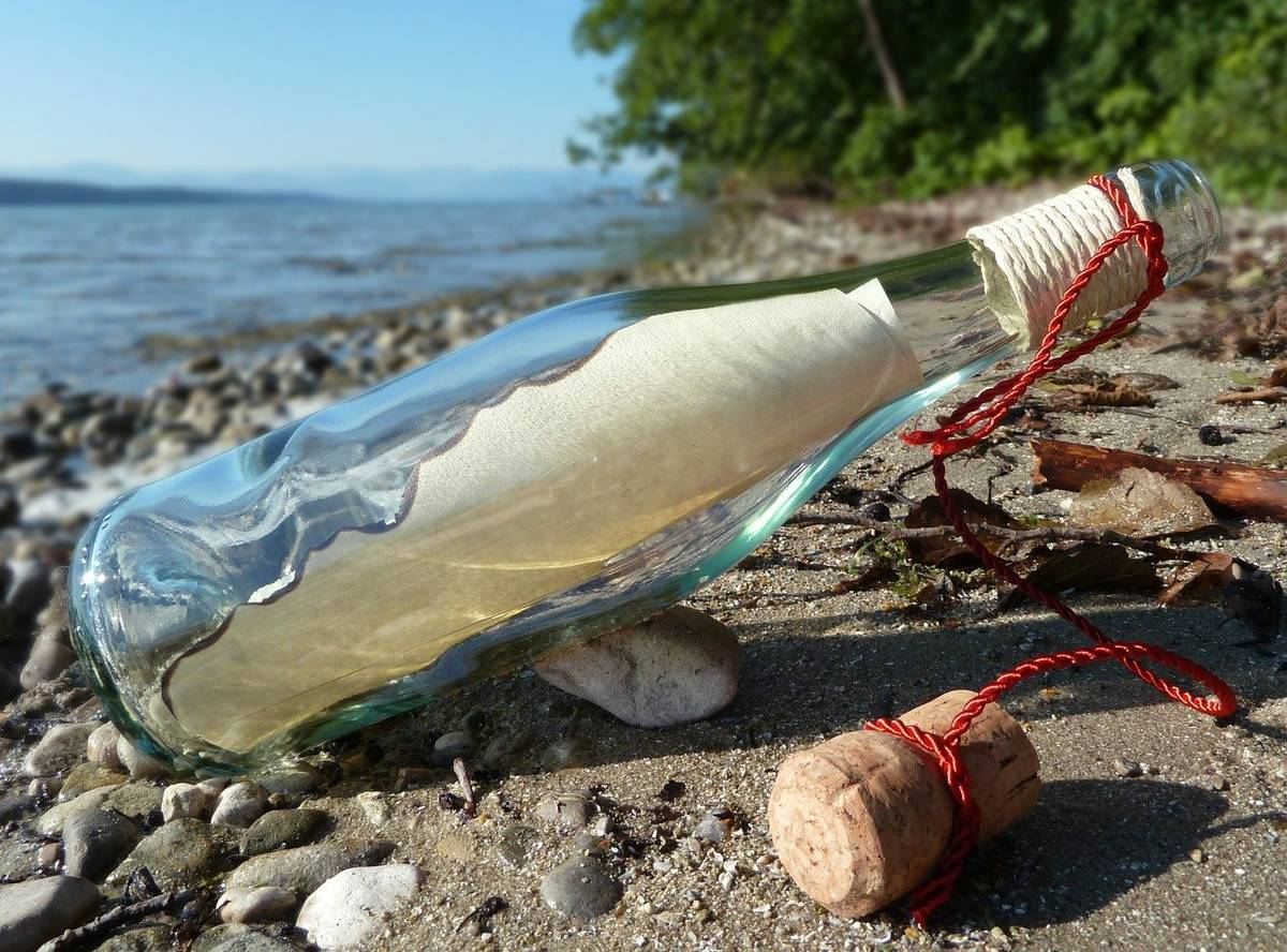 Message in a bottle image for Two Small Potatoes Contact Us form
