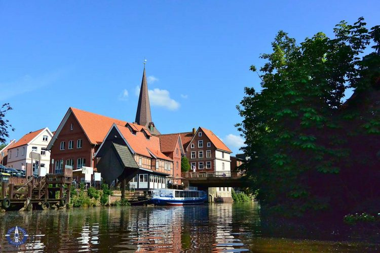 Paddling through the village of Otterndorf in northern Germany