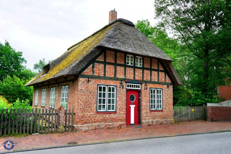 Old red brick schoolhouse in Cuxhaven, Germany