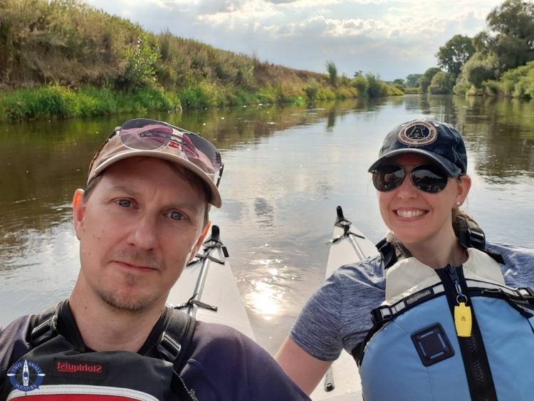 Two Small Potatoes enjoying a day kayaking the Leine River in Germany