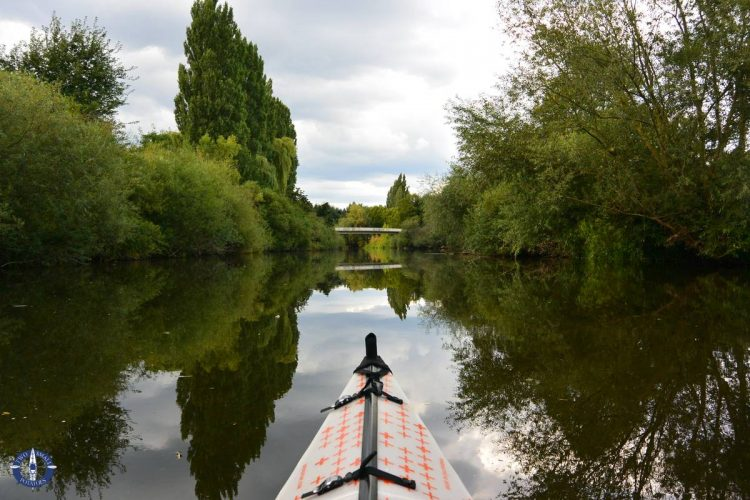 Kayaking the Leine River near Laatzen, Hanover, Germany