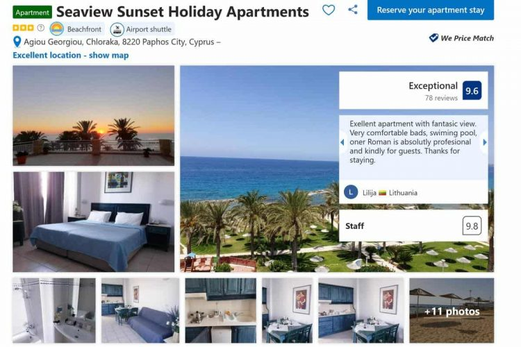 Our booking at Seaview Sunset Holiday Apartments in Cyprus